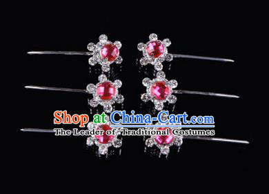 Chinese Ancient Peking Opera Hair Accessories Young Lady Diva Head Ornaments, Traditional Chinese Beijing Opera Hua Tan Pink Crystal Bead Hairpins