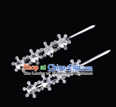Chinese Ancient Peking Opera Hair Accessories Young Lady Diva Head Ornaments, Traditional Chinese Beijing Opera Hua Tan White Crystal Four Beads Hairpins