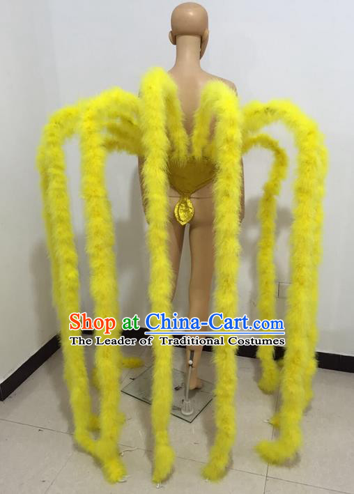 Top Grade Professional Stage Show Halloween Parade Props Yellow Decorations, Brazilian Rio Carnival Parade Samba Dance Supplies Backplane for Women