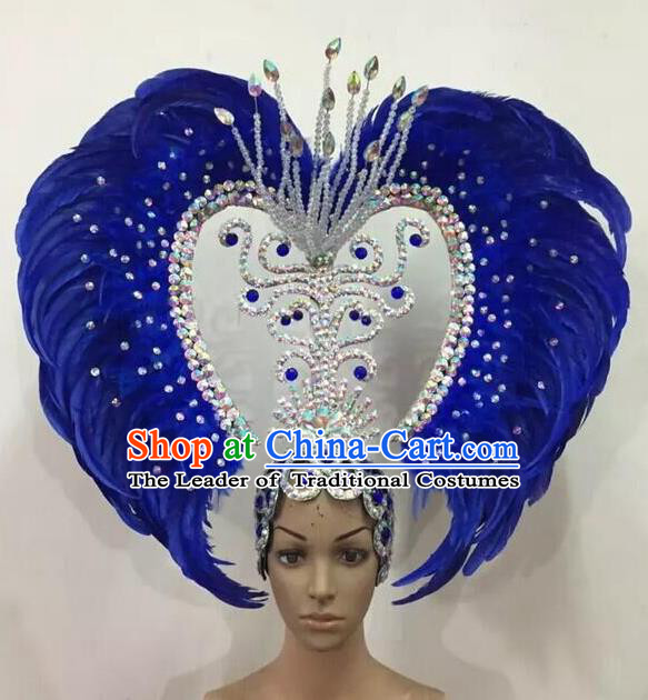 Top Grade Professional Stage Show Halloween Parade Blue Feather Big Hair Accessories, Brazilian Rio Carnival Parade Samba Dance Catwalks Headwear for Women