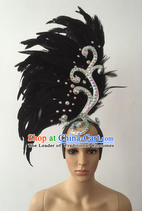 Top Grade Professional Stage Show Halloween Parade Black Feather Deluxe Hair Accessories, Brazilian Rio Carnival Parade Samba Dance Catwalks Headwear for Women
