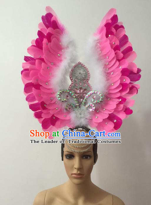 Top Grade Professional Stage Show Halloween Parade Pink Feather Deluxe Hair Accessories, Brazilian Rio Carnival Parade Samba Dance Catwalks Headwear for Women
