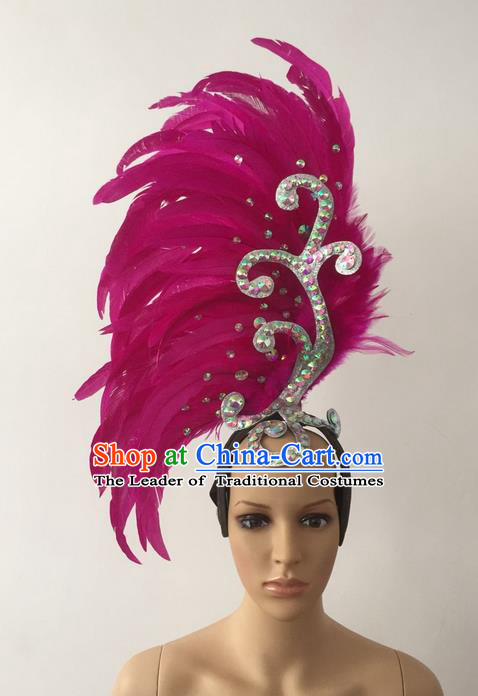 Top Grade Professional Stage Show Halloween Parade Rosy Feather Deluxe Hair Accessories, Brazilian Rio Carnival Parade Samba Dance Catwalks Headwear for Women