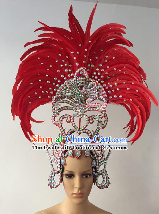 Top Grade Professional Stage Show Halloween Parade Red Feather Extravagant Hair Accessories, Brazilian Rio Carnival Parade Samba Dance Catwalks Headwear for Women