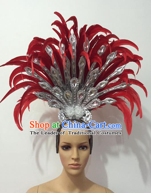 Top Grade Professional Stage Show Halloween Parade Red Feather Extravagant Brazilian Rio Carnival Parade Samba Dance Headpiece for Women