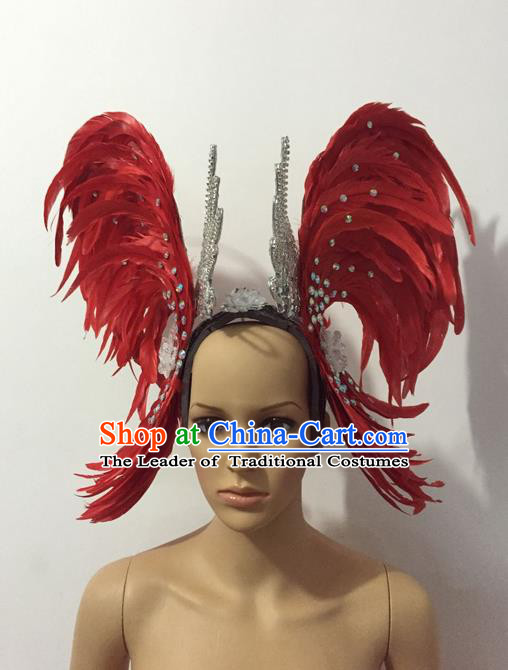 Top Grade Professional Stage Show Halloween Parade Red Feather Brazilian Rio Carnival Parade Samba Dance Exaggerated Hair Accessories Headpiece for Women