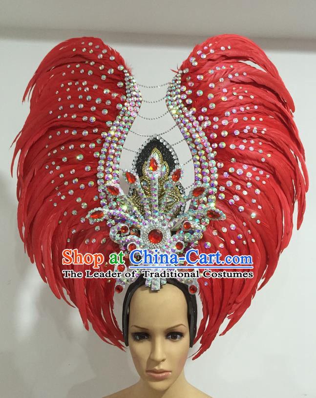Top Grade Professional Stage Show Halloween Parade Exaggerated Red Feather Hair Accessories, Brazilian Rio Carnival Samba Dance Headwear for Women