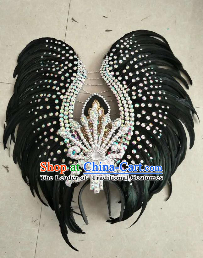 Top Grade Professional Stage Show Halloween Parade Exaggerated Black Feather Hair Accessories, Brazilian Rio Carnival Samba Dance Headwear for Women