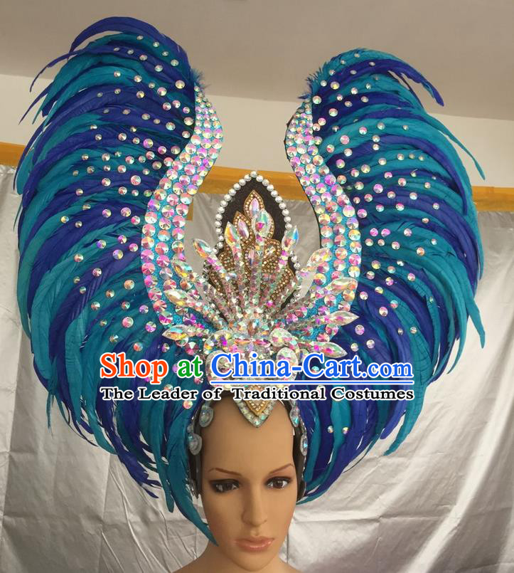 Top Grade Professional Stage Show Halloween Parade Exaggerated Blue Feather Hair Accessories, Brazilian Rio Carnival Samba Dance Headwear for Women