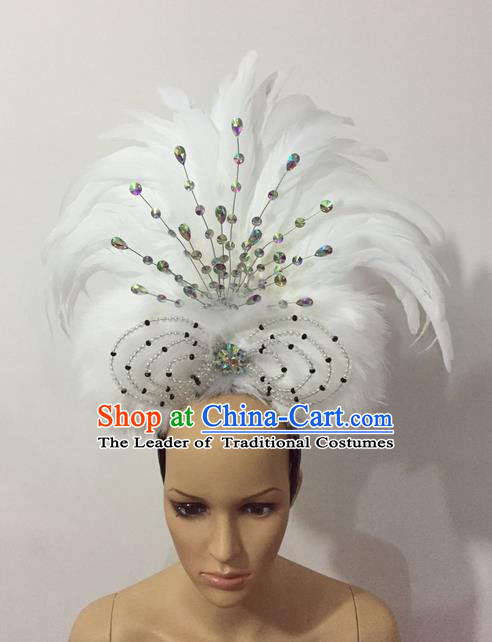 Top Grade Professional Stage Show Halloween Parade White Feather Hair Accessories, Brazilian Rio Carnival Samba Dance Crystal Headwear for Women