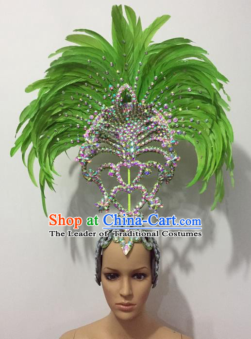 Top Grade Professional Stage Show Halloween Parade Green Feather Hair Accessories, Brazilian Rio Carnival Samba Dance Crystal Headwear for Women