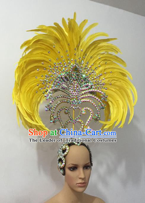 Top Grade Professional Stage Show Halloween Parade Yellow Feather Hair Accessories, Brazilian Rio Carnival Samba Dance Crystal Headwear for Women