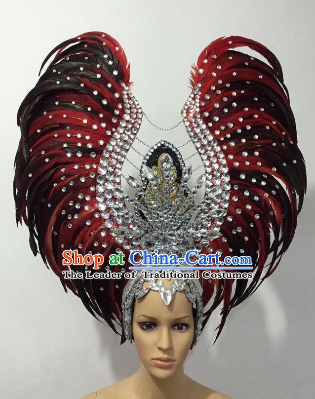 Top Grade Professional Stage Show Halloween Parade Black Red Feather Deluxe Hair Accessories, Brazilian Rio Carnival Samba Dance Modern Fancywork Headwear for Women