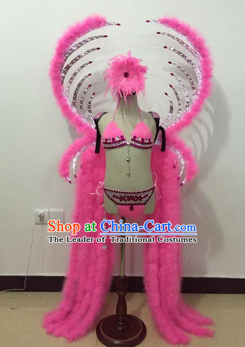 Top Grade Professional Performance Catwalks Bikini Costume and Wings, Traditional Brazilian Rio Carnival Samba Modern Fancywork Pink Feather Swimsuit for Kids
