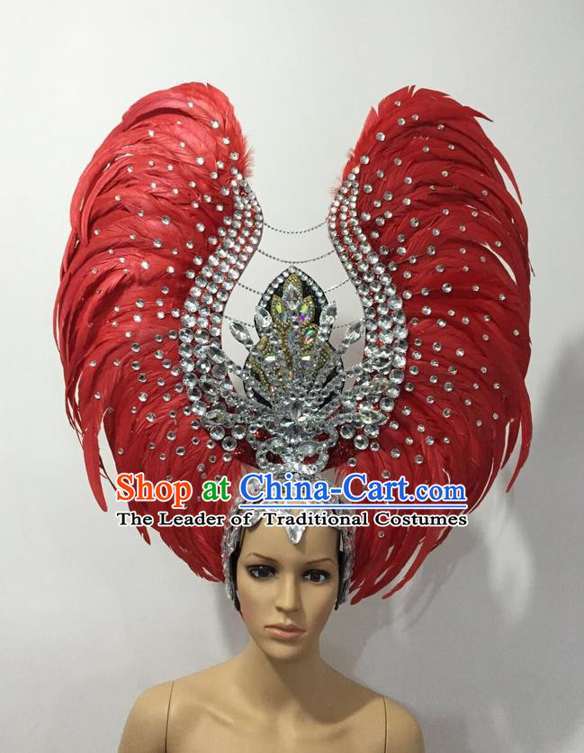 Top Grade Professional Stage Show Halloween Parade Red Feather Deluxe Hair Accessories, Brazilian Rio Carnival Samba Dance Modern Fancywork Headwear for Women