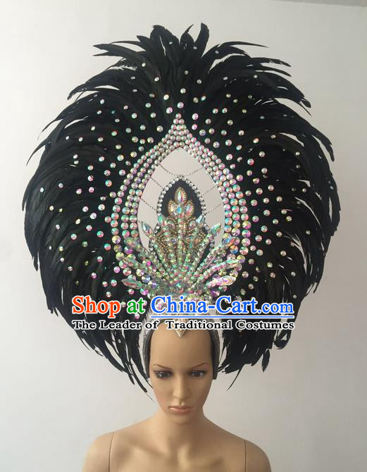Top Grade Professional Stage Show Halloween Parade Black Feather Deluxe Hair Accessories, Brazilian Rio Carnival Samba Dance Modern Fancywork Crystal Headwear for Women