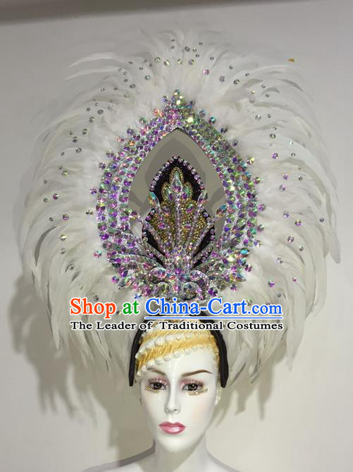 Top Grade Professional Stage Show Halloween Parade White Feather Deluxe Hair Accessories, Brazilian Rio Carnival Samba Dance Modern Fancywork Crystal Headwear for Women