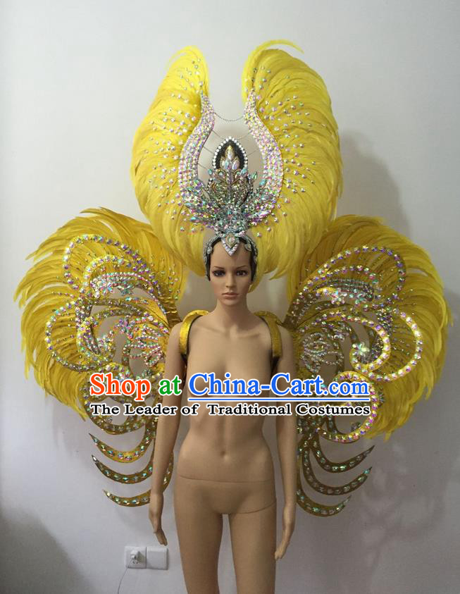 Top Grade Professional Stage Show Halloween Parade Yellow Feather Deluxe Butterfly Wings and Hair Accessories, Brazilian Rio Carnival Samba Dance Modern Fancywork Backplane for Women