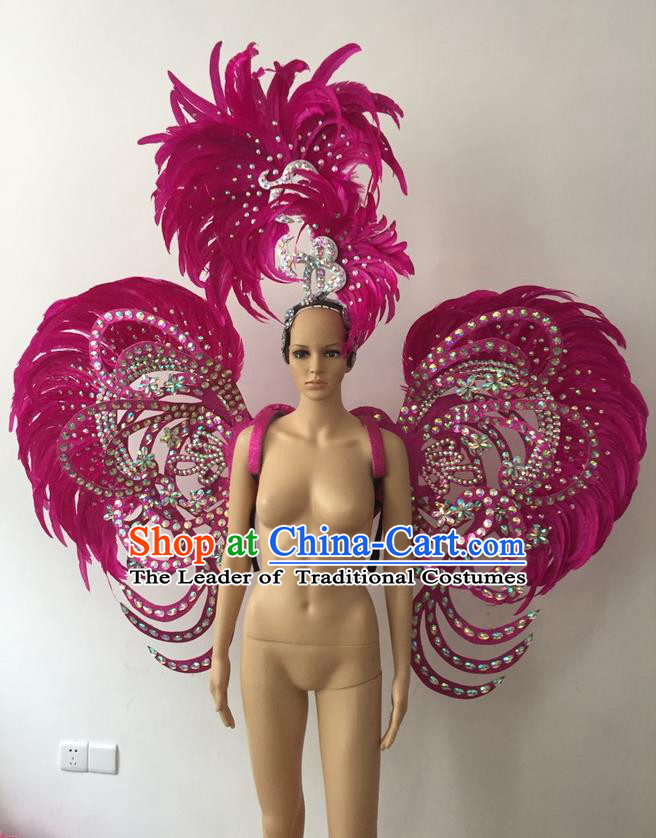 Top Grade Professional Stage Show Halloween Parade Rosy Feather Deluxe Butterfly Wings and Hair Accessories, Brazilian Rio Carnival Samba Dance Modern Fancywork Backplane for Women