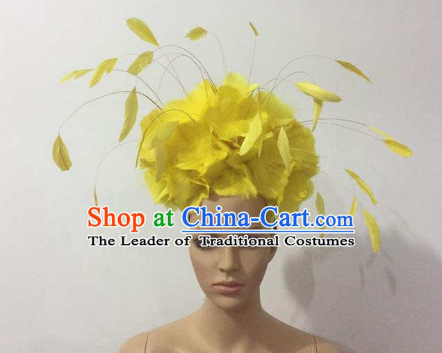 Top Grade Professional Stage Show Halloween Parade Yellow Feather Deluxe Hair Accessories, Brazilian Rio Carnival Samba Dance Modern Fancywork Headpiece for Women