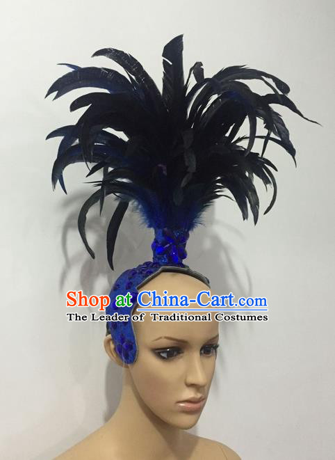 Top Grade Professional Stage Show Halloween Parade Feather Blue Crystal Headwear, Brazilian Rio Carnival Samba Dance Modern Fancywork Hair Accessories Headpiece for Women
