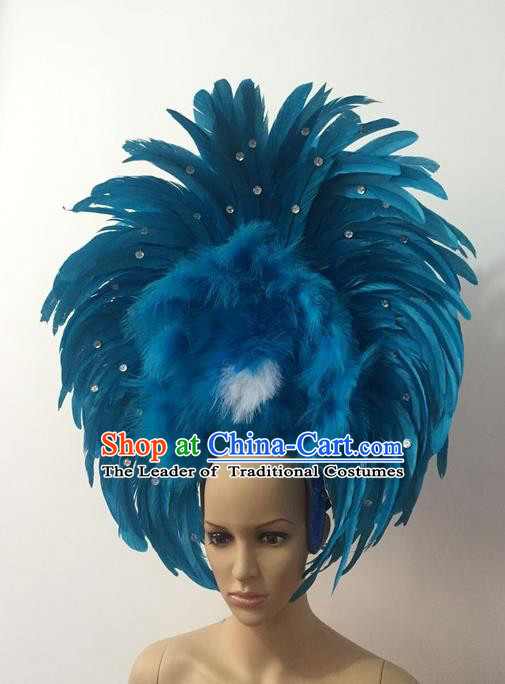 Top Grade Professional Stage Show Halloween Parade Blue Feather Headwear, Brazilian Rio Carnival Samba Dance Modern Fancywork Hair Accessories Headpiece for Women