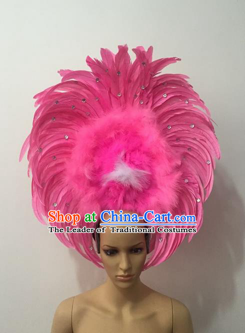 Top Grade Professional Stage Show Halloween Parade Pink Feather Headwear, Brazilian Rio Carnival Samba Dance Modern Fancywork Hair Accessories Headpiece for Women