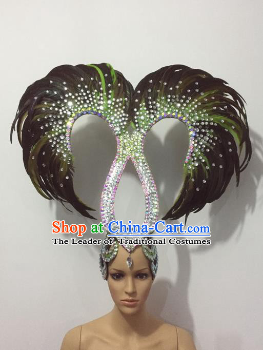 Top Grade Professional Stage Show Halloween Parade Crystal Feather Headwear, Brazilian Rio Carnival Samba Dance Modern Fancywork Hair Accessories Headpiece for Women