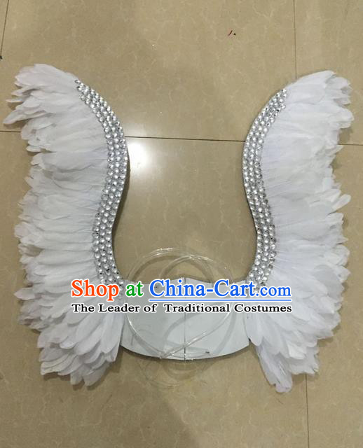 Top Grade Professional Stage Show Halloween Parade White Feather Wings, Brazilian Rio Carnival Samba Dance Modern Fancywork Props Decorations for Women