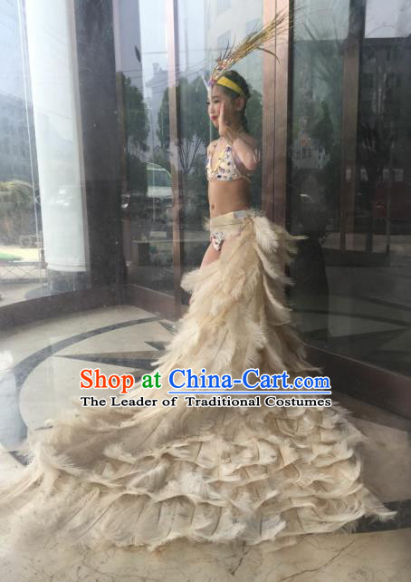 Top Grade Professional Performance Catwalks Bikini Costume, Traditional Brazilian Rio Carnival Samba Modern Fancywork White Feather Swimsuit Clothing for Kids