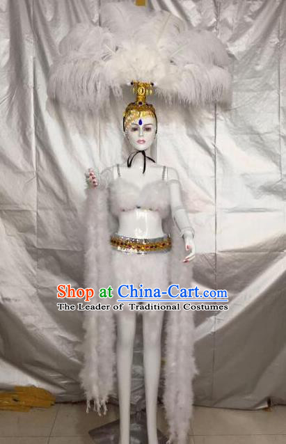 Top Grade Professional Performance Catwalks Bikini Costume and Headpiece, Traditional Brazilian Rio Carnival Samba Modern Fancywork White Feather Swimsuit Clothing for Kids