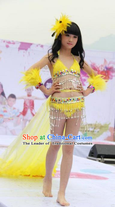 Top Grade Professional Performance Catwalks Bikini Costume, Traditional Brazilian Rio Carnival Samba Modern Fancywork Yellow Feather Swimsuit Clothing for Kids