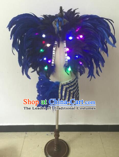 Top Grade Professional Performance Catwalks Bikini Costume, Traditional Brazilian Rio Carnival Samba Modern Fancywork Blue Feather Swimsuit Led Light Clothing for Kids