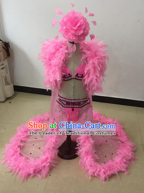 Top Grade Professional Performance Catwalks Bikini Costume and Headwear, Traditional Brazilian Rio Carnival Samba Modern Fancywork Pink Feather Swimsuit Led Light Clothing for Kids