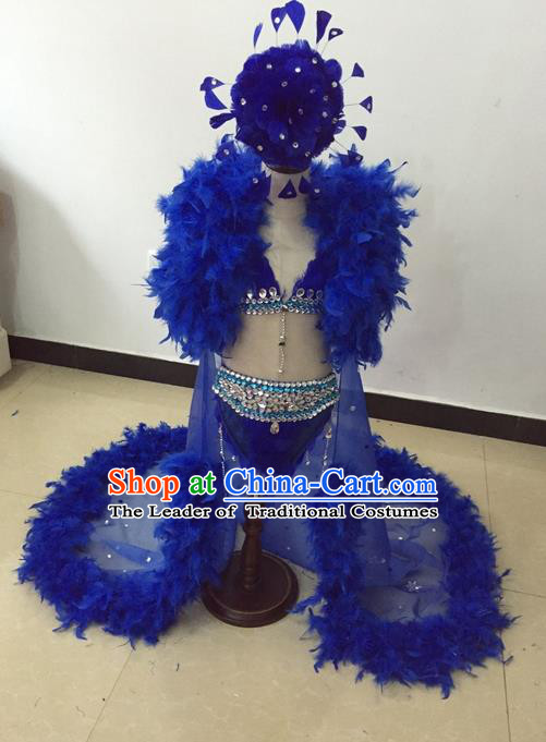 Top Grade Professional Performance Catwalks Bikini Costume and Headwear, Traditional Brazilian Rio Carnival Samba Modern Fancywork Blue Feather Swimsuit Led Light Clothing for Kids