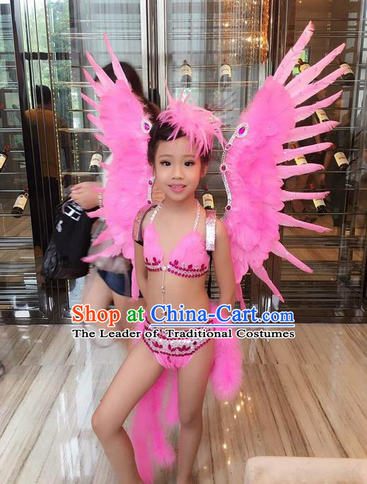 Top Grade Professional Performance Catwalks Bikini Costume and Wings, Traditional Brazilian Rio Carnival Samba Modern Fancywork Pink Feather Swimsuit Clothing for Kids