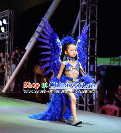 Top Grade Professional Performance Catwalks Bikini Costume and Wings, Traditional Brazilian Rio Carnival Samba Modern Fancywork Blue Feather Swimsuit Clothing for Kids