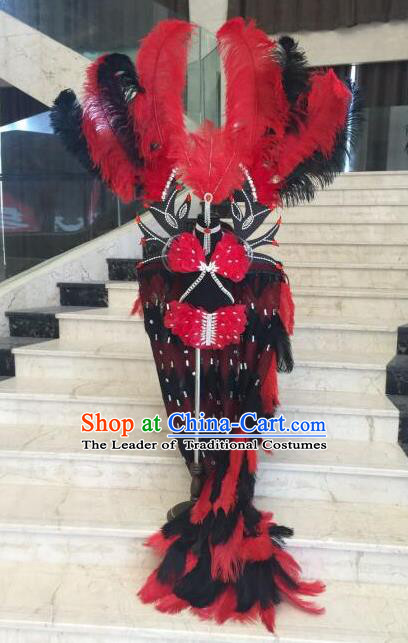 Top Grade Professional Performance Catwalks Bikini Costume and Headwear, Traditional Brazilian Rio Carnival Samba Modern Fancywork Red Feather Swimsuit Clothing for Kids
