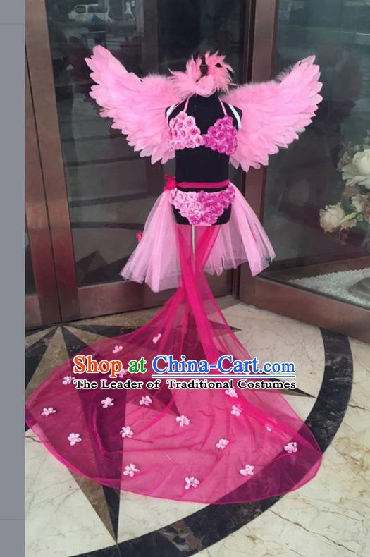Top Grade Professional Performance Catwalks Bikini Costume and Headpiece, Traditional Brazilian Rio Carnival Samba Modern Fancywork Rose Feather Trailing Swimsuit for Kids
