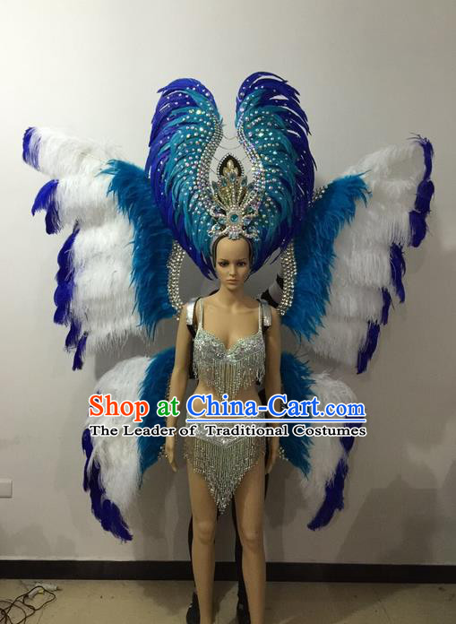 Top Grade Professional Performance Catwalks Bikini Butterfly Wings Costume and Headpiece, Traditional Brazilian Rio Carnival Samba Modern Fancywork Blue Feather Swimsuit for Women