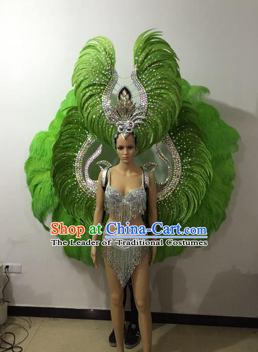Top Grade Professional Performance Catwalks Bikini Wings Costume and Headpiece, Traditional Brazilian Rio Carnival Samba Modern Fancywork Green Feather Swimsuit for Women