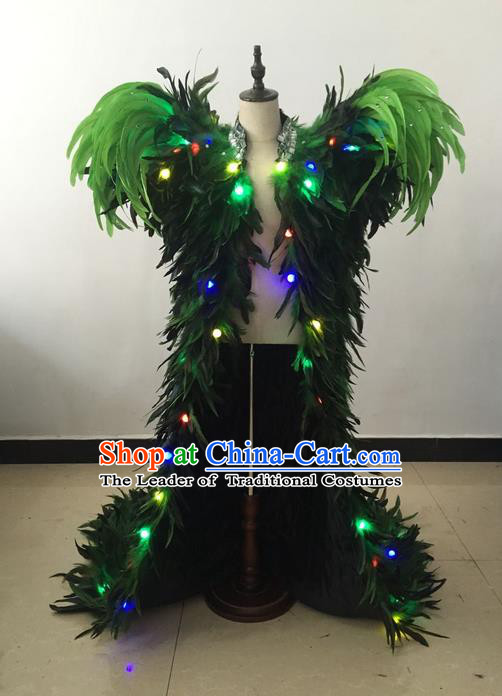 Top Grade Professional Performance Catwalks Led Light Costume, Traditional Brazilian Rio Carnival Samba Modern Fancywork Green Feather Clothing for Kids