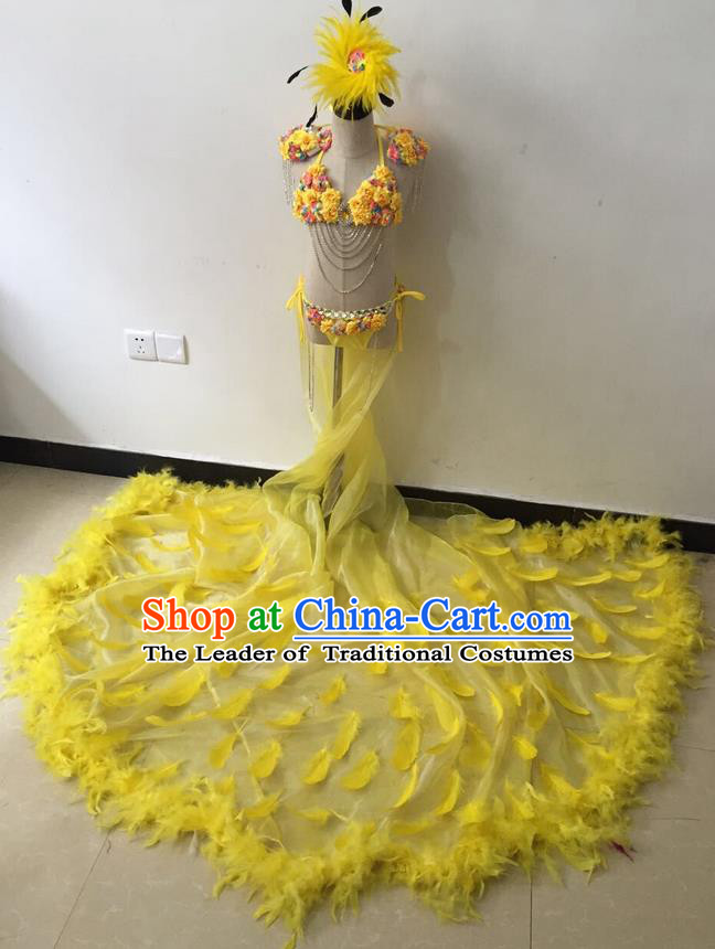 Top Grade Professional Performance Catwalks Bikini Costume and Headpiece, Traditional Brazilian Rio Carnival Samba Modern Fancywork Yellow Feather Trailing Swimsuit for Kids