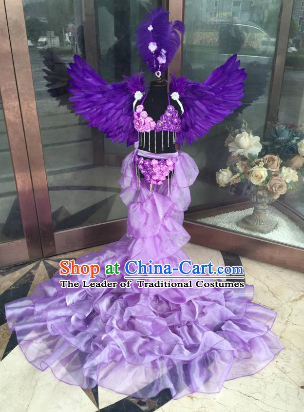 Top Grade Professional Performance Catwalks Bikini Costume and Headpiece, Traditional Brazilian Rio Carnival Samba Modern Fancywork Purple Feather Trailing Swimsuit for Kids