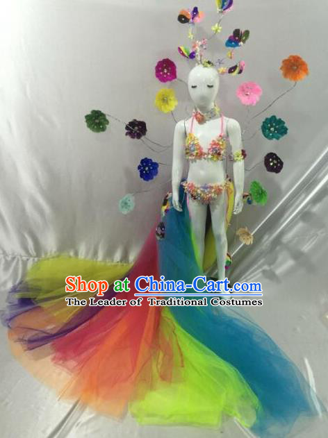 Top Grade Professional Performance Catwalks Bikini Costume, Traditional Brazilian Rio Carnival Samba Modern Fancywork Dance Swimsuit Clothing for Kids