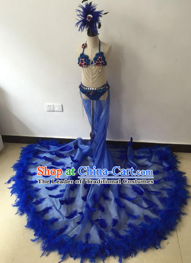 Top Grade Professional Performance Catwalks Bikini Costume and Headpiece, Traditional Brazilian Rio Carnival Samba Modern Fancywork Blue Feather Trailing Swimsuit for Kids