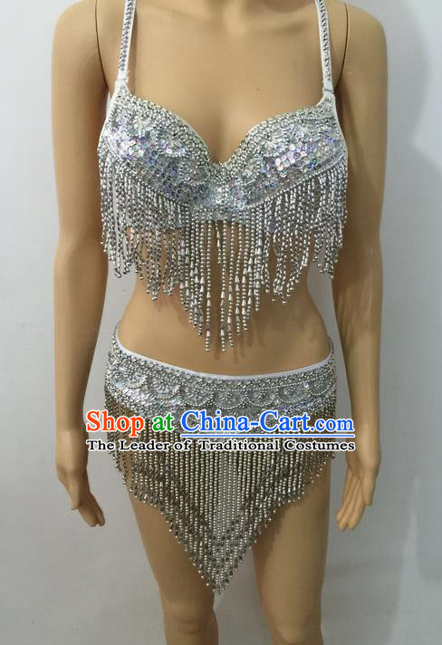 Top Grade Professional Performance Catwalks Bikini Costume, Traditional Brazilian Rio Carnival Samba Modern Fancywork Belly Dance Swimsuit Clothing for Women