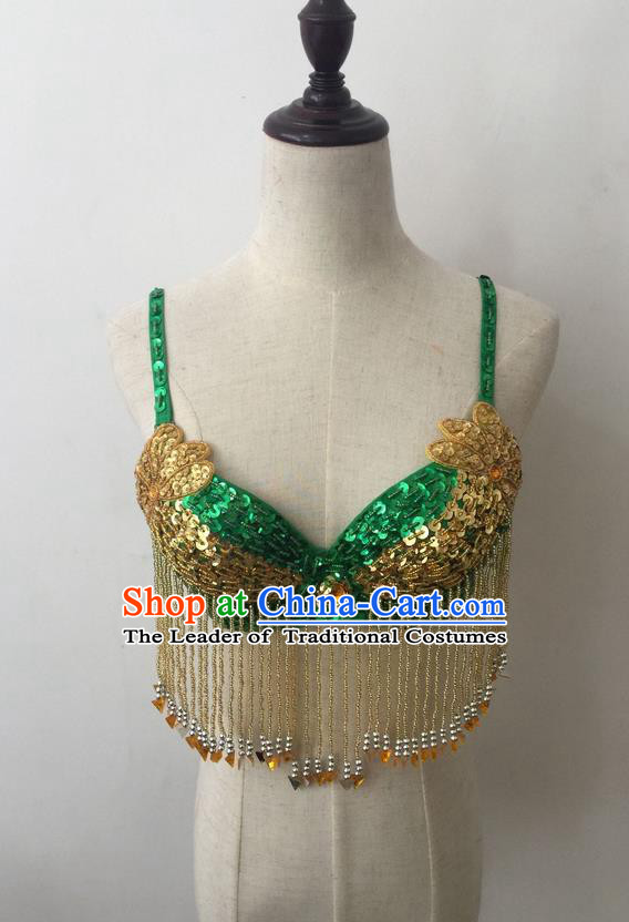 Top Grade Professional Performance Catwalks Bikini Clothing, Traditional Brazilian Rio Carnival Samba Modern Fancywork Belly Dance Green Brassiere for Women