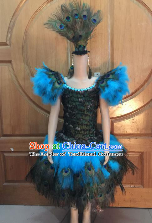 Top Grade Professional Performance Catwalks Dress Clothing, Traditional Brazilian Rio Carnival Samba Modern Fancywork Blue Costume for Women