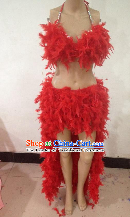 Top Grade Professional Performance Catwalks Bikini Clothing, Traditional Brazilian Rio Carnival Samba Modern Fancywork Red Feather Swimsuit Costume for Kids